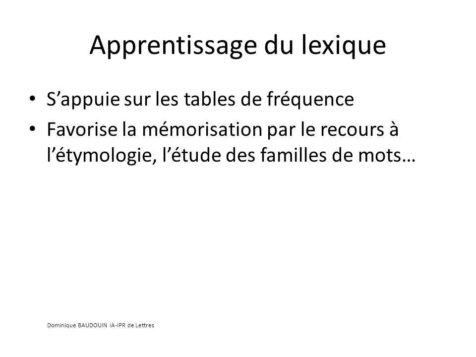 Apprentissage du lexique Sappuie sur les tables de fréquence Favorise la mémorisation par le recours à létymologie, létude des familles de mots… Dominique BAUDOUIN IA-IPR de Lettres