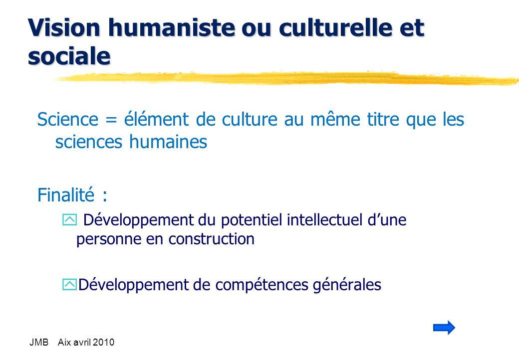 Vision humaniste ou culturelle et sociale Science = élément de culture au même titre que les sciences humaines Finalité : y Développement du potentiel intellectuel dune personne en construction yDéveloppement de compétences générales JMB Aix avril 2010