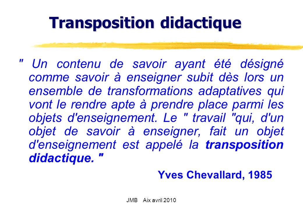 1° schéma savoirs savants transposition externe savoirs à enseigner transposition interne savoirs enseignés JMB Aix avril 2010
