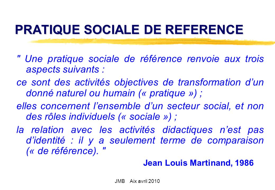 PRATIQUE SOCIALE DE REFERENCE