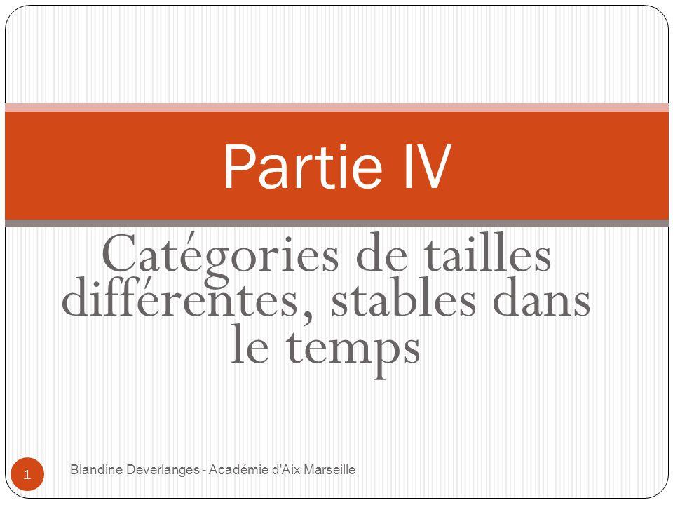 Catégories de tailles différentes, stables dans le temps Blandine Deverlanges - Académie d Aix Marseille 1 Partie IV