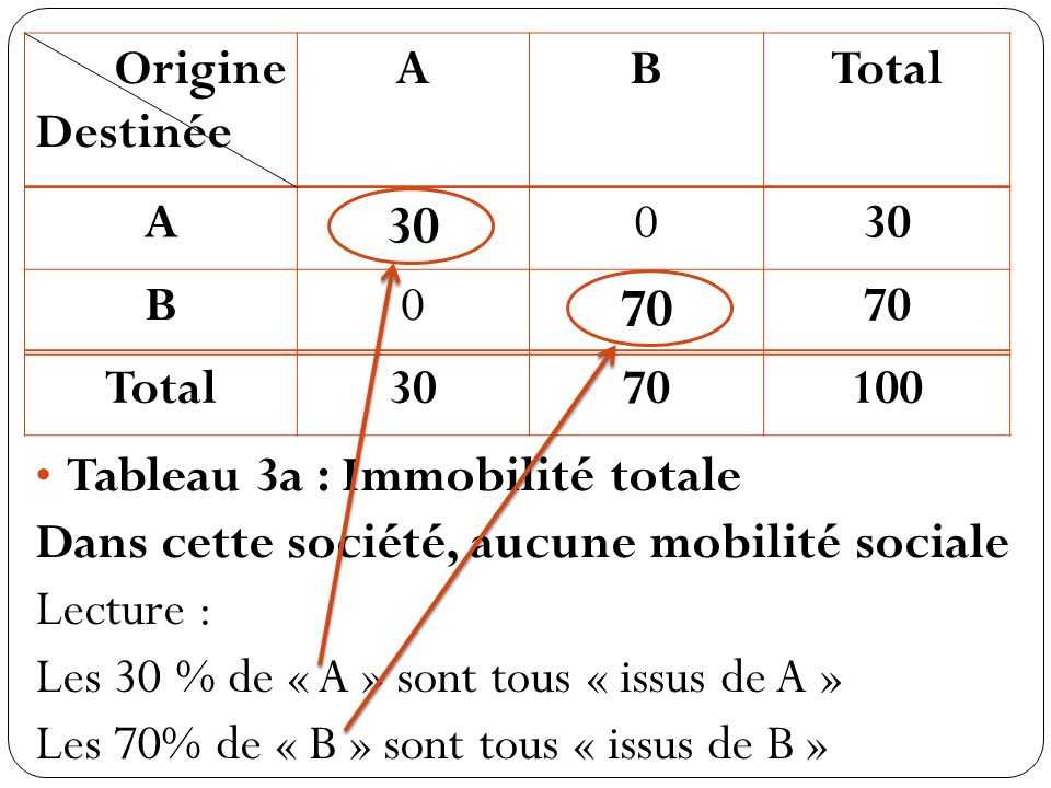 Origine Destinée ABTotal A 30 0 B0 70 Total3070100 Tableau 3a : Immobilité totale Dans cette société, aucune mobilité sociale Lecture : Les 30 % de « A » sont tous « issus de A » Les 70% de « B » sont tous « issus de B »