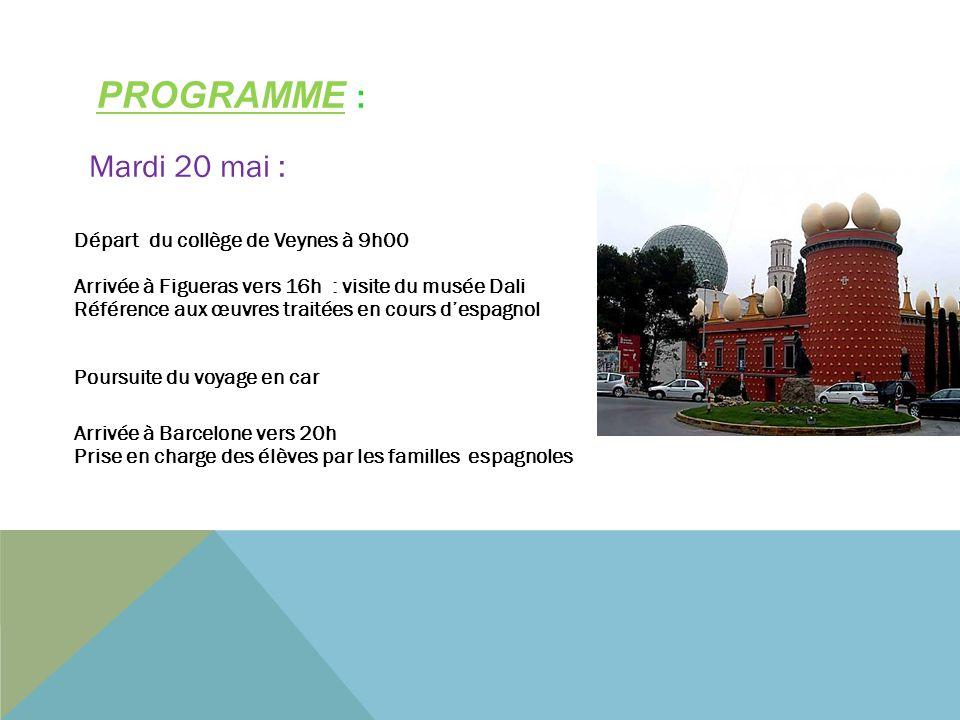PROGRAMME : Départ du collège de Veynes à 9h00 Arrivée à Figueras vers 16h : visite du musée Dali Référence aux œuvres traitées en cours despagnol Pou
