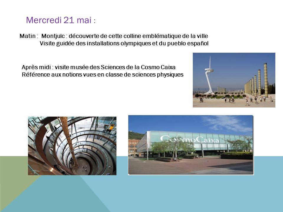 Matin : Montjuïc : découverte de cette colline emblématique de la ville Visite guidée des installations olympiques et du pueblo español Mercredi 21 ma