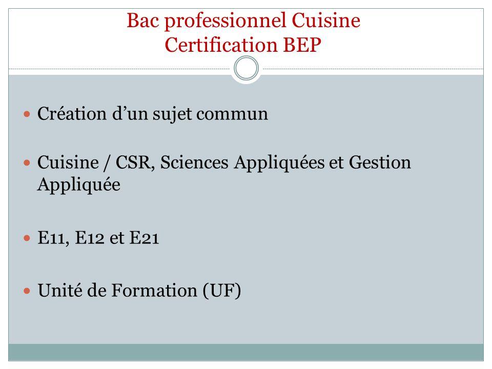 Bac professionnel Cuisine Certification BEP Création dun sujet commun Cuisine / CSR, Sciences Appliquées et Gestion Appliquée E11, E12 et E21 Unité de