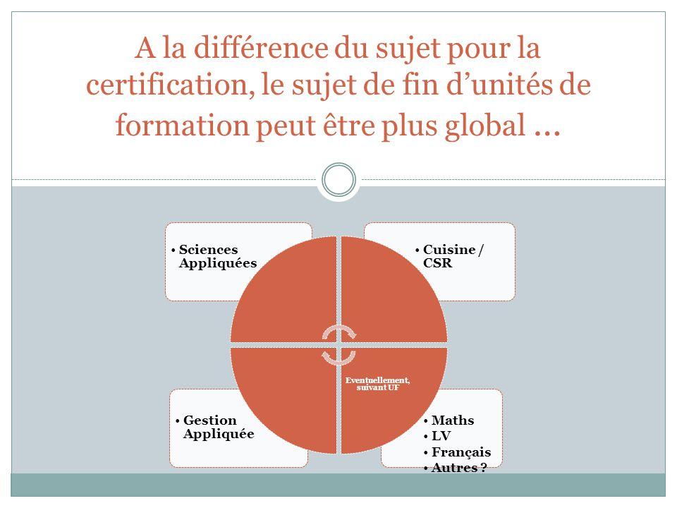 A la différence du sujet pour la certification, le sujet de fin dunités de formation peut être plus global … Maths LV Français Autres ? Gestion Appliq