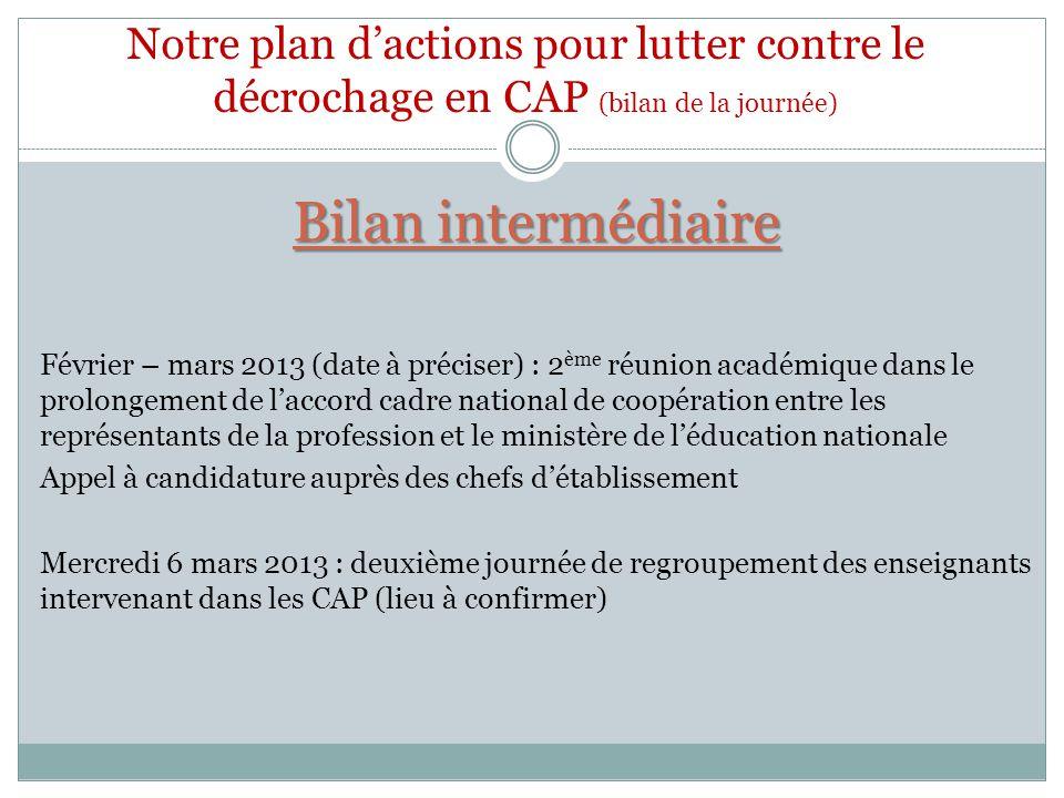 Bilan intermédiaire Février – mars 2013 (date à préciser) : 2 ème réunion académique dans le prolongement de laccord cadre national de coopération ent
