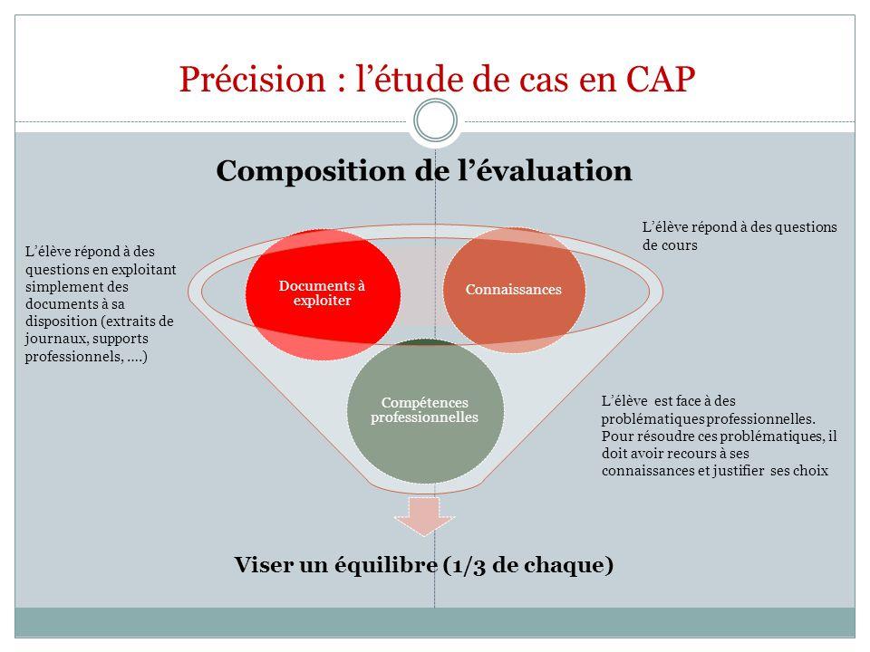 Précision : létude de cas en CAP Viser un équilibre (1/3 de chaque) Compétences professionnelles Documents à exploiter Connaissances Composition de lé