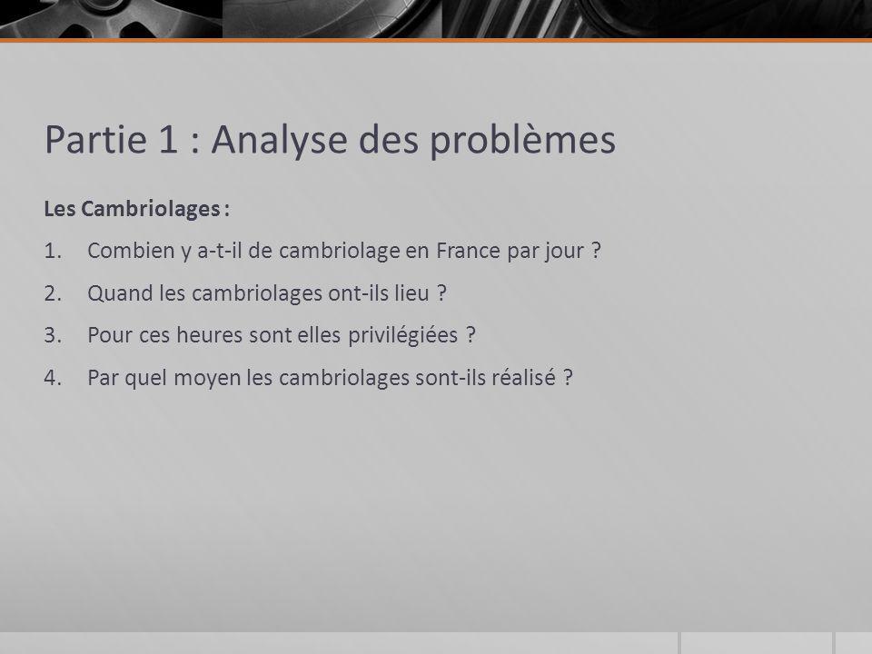 Partie 1 : Analyse des problèmes Les Cambriolages : 1.Combien y a-t-il de cambriolage en France par jour ? 2.Quand les cambriolages ont-ils lieu ? 3.P
