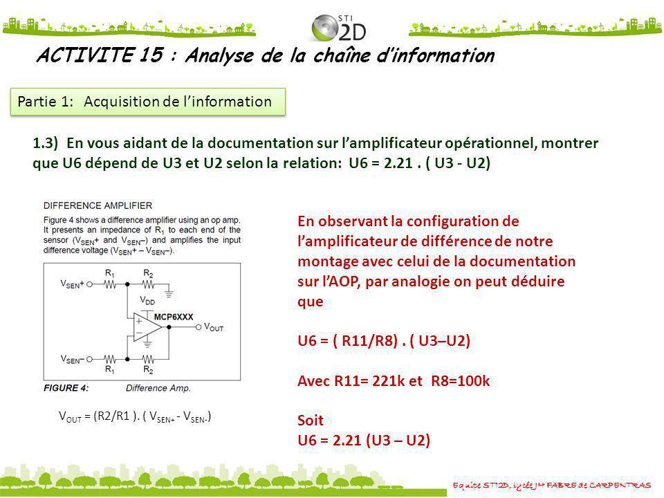 Equipe STI2D, lycée JH FABRE de CARPENTRAS ACTIVITE 15 : Analyse de la chaîne dinformation Partie 1: Acquisition de linformation 1.3) En vous aidant d