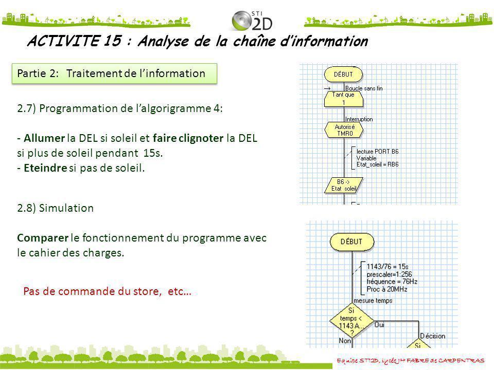 Equipe STI2D, lycée JH FABRE de CARPENTRAS ACTIVITE 15 : Analyse de la chaîne dinformation Partie 2: Traitement de linformation 2.7) Programmation de