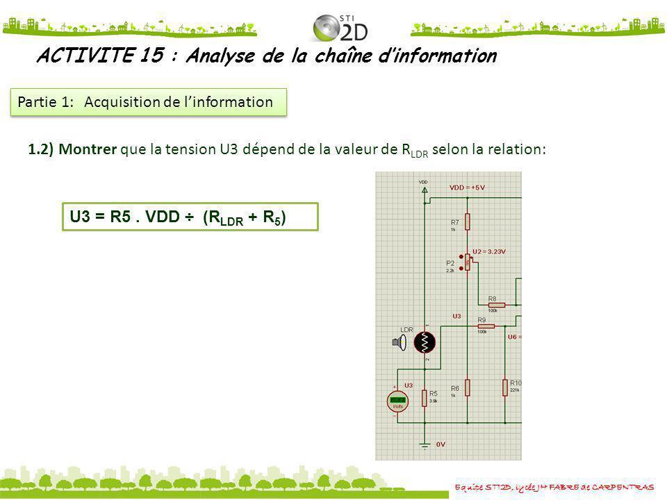 Equipe STI2D, lycée JH FABRE de CARPENTRAS ACTIVITE 15 : Analyse de la chaîne dinformation Partie 1: Acquisition de linformation 1.2) Montrer que la t