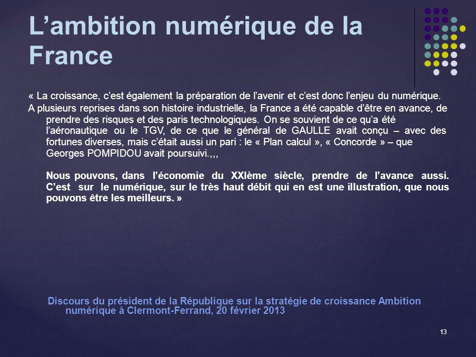 Lambition numérique de la France « La croissance, cest également la préparation de lavenir et cest donc lenjeu du numérique.