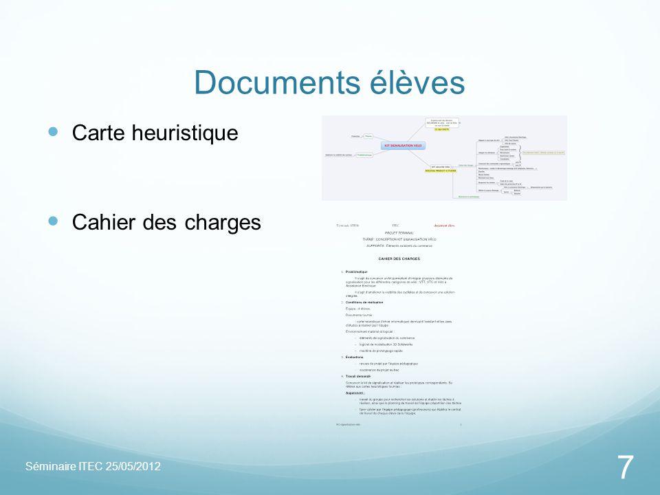 Documents élèves Séminaire ITEC 25/05/2012 7 Carte heuristique Cahier des charges