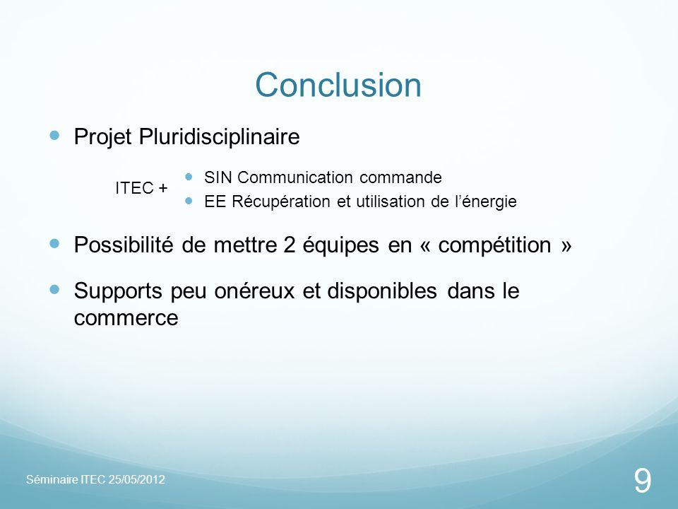 Conclusion Projet Pluridisciplinaire SIN Communication commande EE Récupération et utilisation de lénergie Possibilité de mettre 2 équipes en « compét