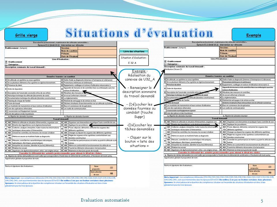 5 Exemple : Réalisation du canevas de U32_A - Renseigner la description sommaire du travail demandé - (Dé)cocher les données fournies au candidat (tou