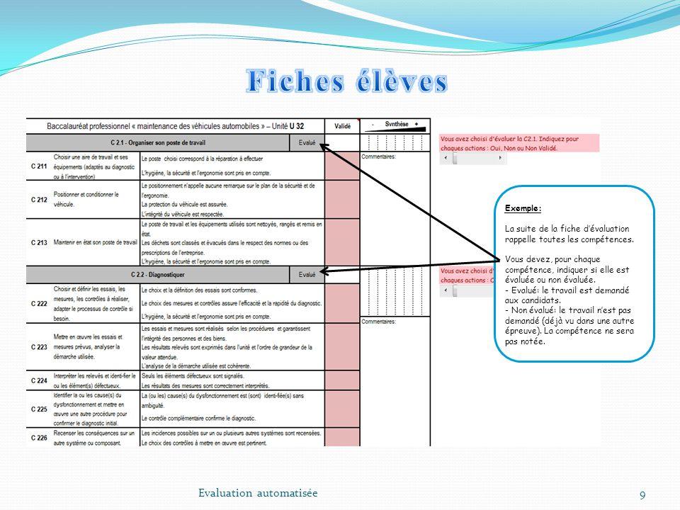 9 Exemple: La suite de la fiche dévaluation rappelle toutes les compétences. Vous devez, pour chaque compétence, indiquer si elle est évaluée ou non é