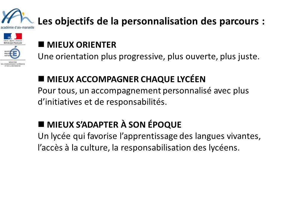Les objectifs de la personnalisation des parcours : MIEUX ORIENTER Une orientation plus progressive, plus ouverte, plus juste.