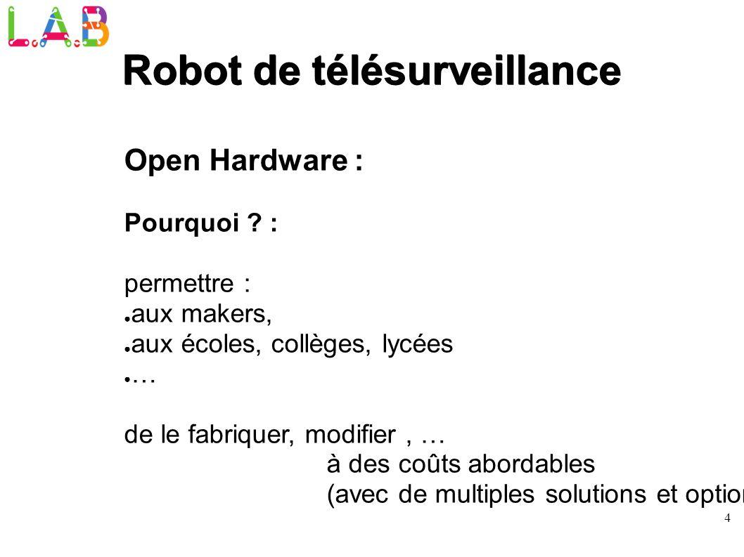 4 Robot de télésurveillance Open Hardware : Pourquoi ? : permettre : aux makers, aux écoles, collèges, lycées … de le fabriquer, modifier, … à des coû