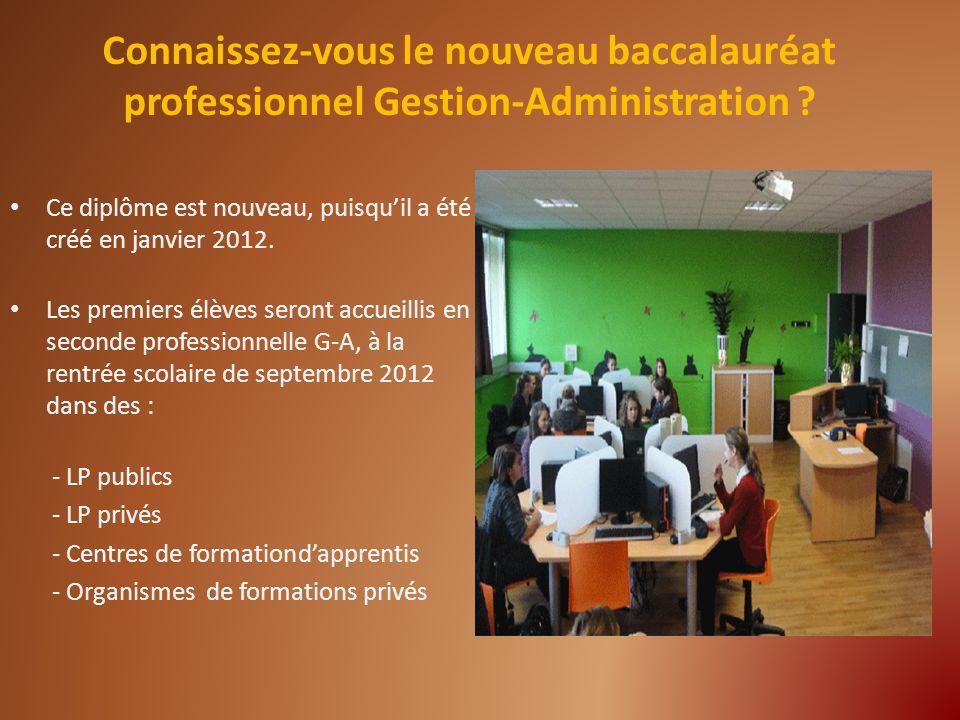 Connaissez-vous le nouveau baccalauréat professionnel Gestion-Administration ? Ce diplôme est nouveau, puisquil a été créé en janvier 2012. Les premie