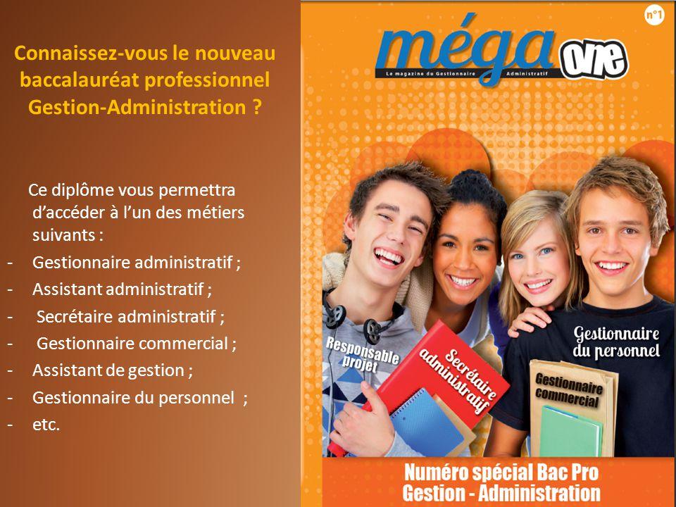 Ce diplôme vous permettra daccéder à lun des métiers suivants : -Gestionnaire administratif ; -Assistant administratif ; - Secrétaire administratif ;