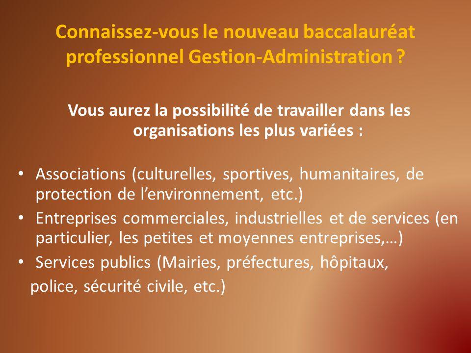Vous aurez la possibilité de travailler dans les organisations les plus variées : Associations (culturelles, sportives, humanitaires, de protection de