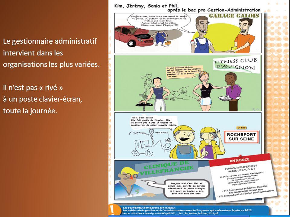 Le gestionnaire administratif intervient dans les organisations les plus variées. ll nest pas « rivé » à un poste clavier-écran, toute la journée.