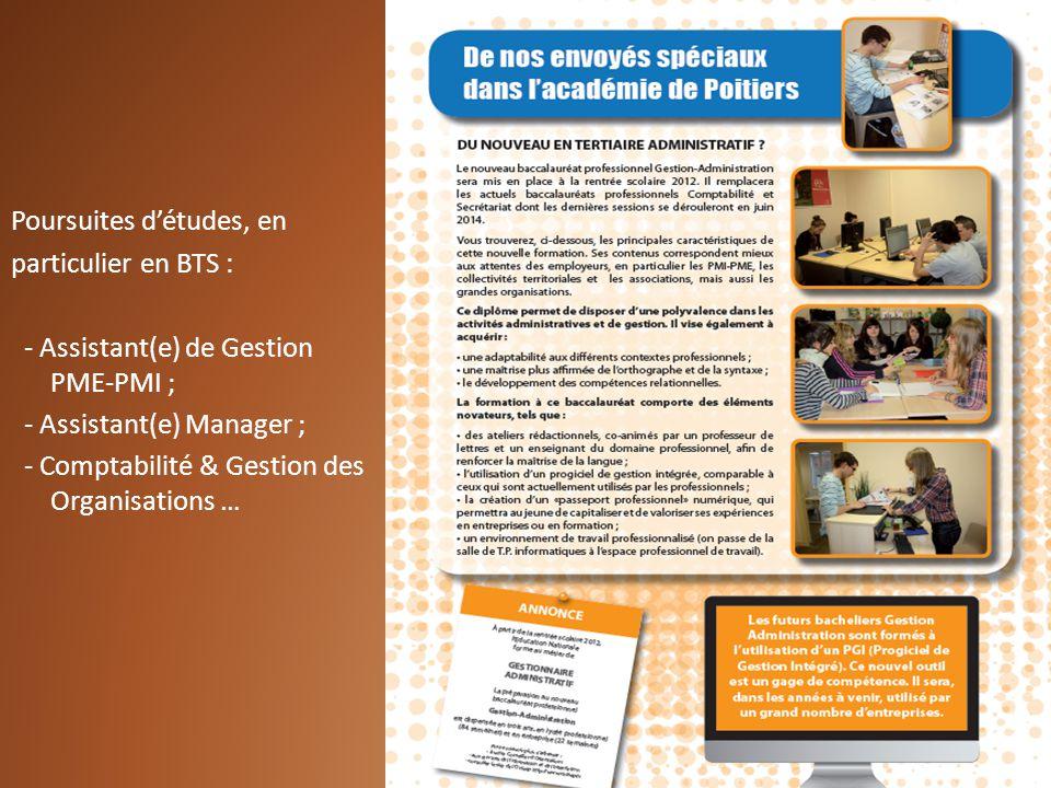 Poursuites détudes, en particulier en BTS : - Assistant(e) de Gestion PME-PMI ; - Assistant(e) Manager ; - Comptabilité & Gestion des Organisations …