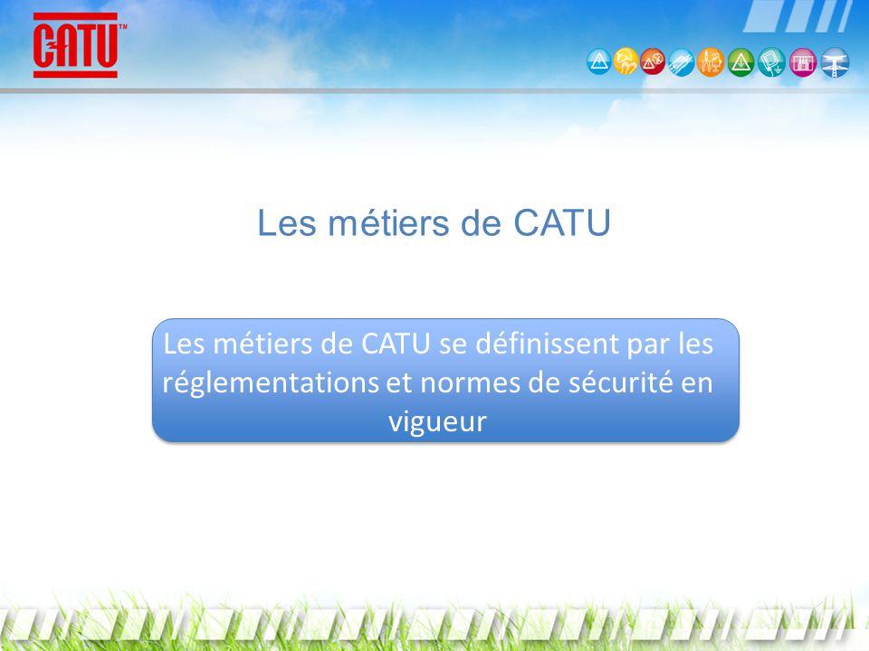 Les métiers de CATU Les métiers de CATU se définissent par les réglementations et normes de sécurité en vigueur