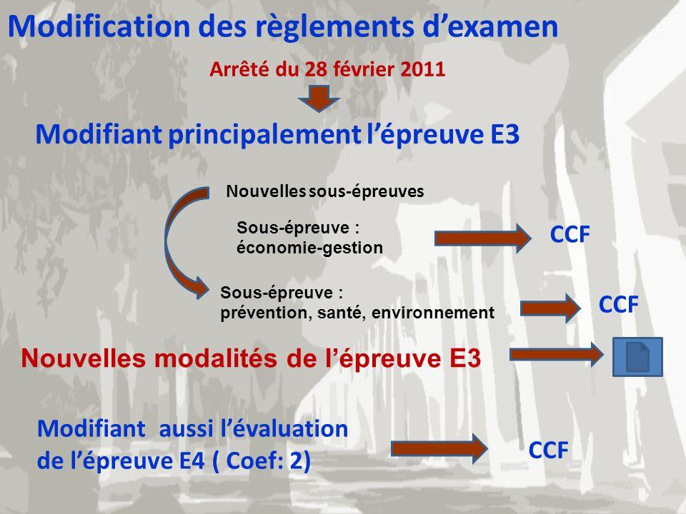 Modification des règlements dexamen Arrêté du 28 février 2011 Modifiant principalement lépreuve E3 Nouvelles sous-épreuves Sous-épreuve : économie-ges