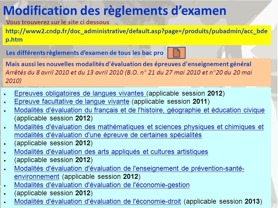 http://www2.cndp.fr/doc_administrative/default.asp?page=/produits/pubadmin/acc_bde p.htm Modification des règlements dexamen Vous trouverez sur le sit
