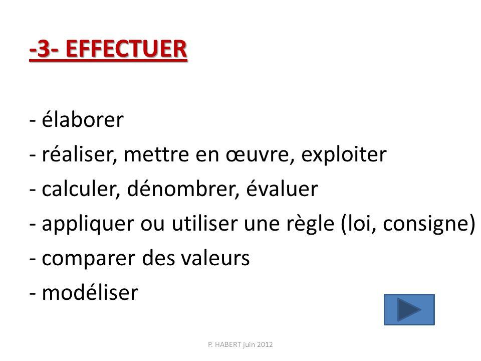 -3- EFFECTUER -3- EFFECTUER - élaborer - réaliser, mettre en œuvre, exploiter - calculer, dénombrer, évaluer - appliquer ou utiliser une règle (loi, consigne) - comparer des valeurs - modéliser P.