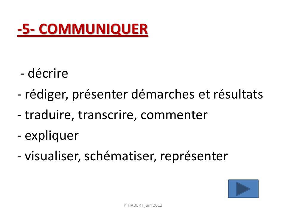 -5- COMMUNIQUER -5- COMMUNIQUER - décrire - rédiger, présenter démarches et résultats - traduire, transcrire, commenter - expliquer - visualiser, sché