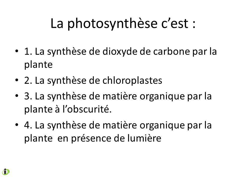 La photosynthèse cest : 1. La synthèse de dioxyde de carbone par la plante 2. La synthèse de chloroplastes 3. La synthèse de matière organique par la