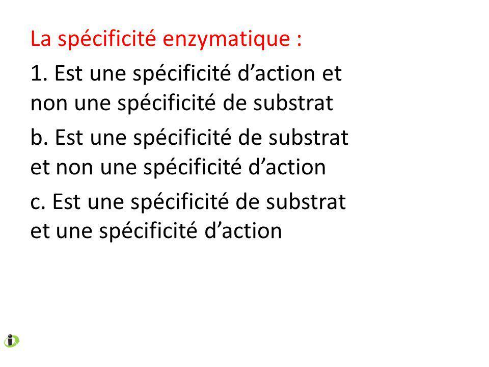 La spécificité enzymatique : 1.Est une spécificité daction et non une spécificité de substrat b.
