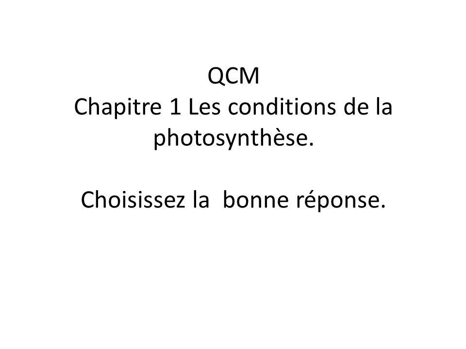 QCM Chapitre 1 Les conditions de la photosynthèse. Choisissez la bonne réponse.