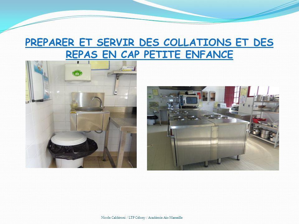 PREPARER ET SERVIR DES COLLATIONS ET DES REPAS EN CAP PETITE ENFANCE Nicole Caldéroni / LTP Célony / Académie Aix-Marseille