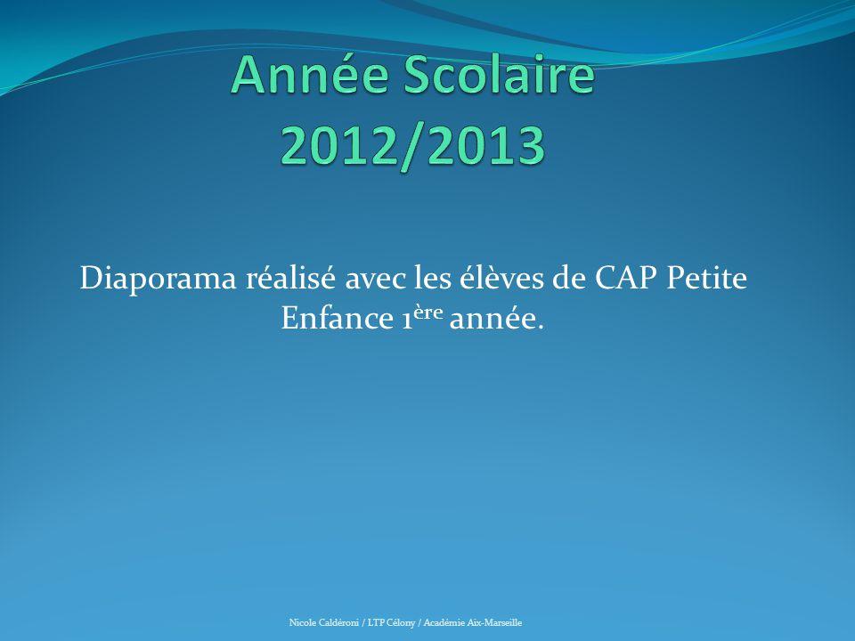 Diaporama réalisé avec les élèves de CAP Petite Enfance 1 ère année. Nicole Caldéroni / LTP Célony / Académie Aix-Marseille
