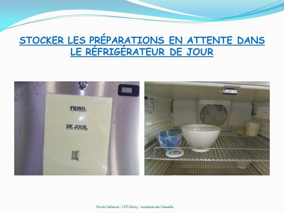 STOCKER LES PRÉPARATIONS EN ATTENTE DANS LE RÉFRIGÉRATEUR DE JOUR Nicole Caldéroni / LTP Célony / Académie Aix-Marseille