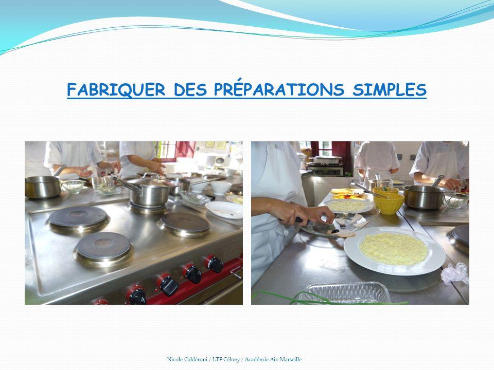 FABRIQUER DES PRÉPARATIONS SIMPLES Nicole Caldéroni / LTP Célony / Académie Aix-Marseille