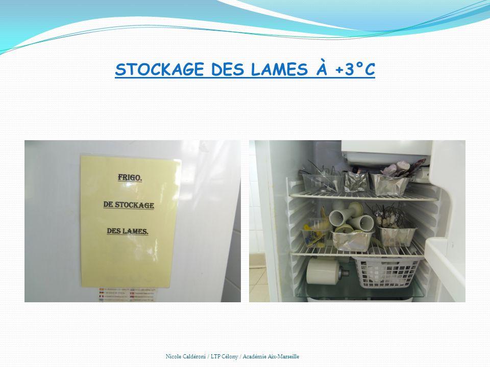 STOCKAGE DES LAMES À +3°C Nicole Caldéroni / LTP Célony / Académie Aix-Marseille
