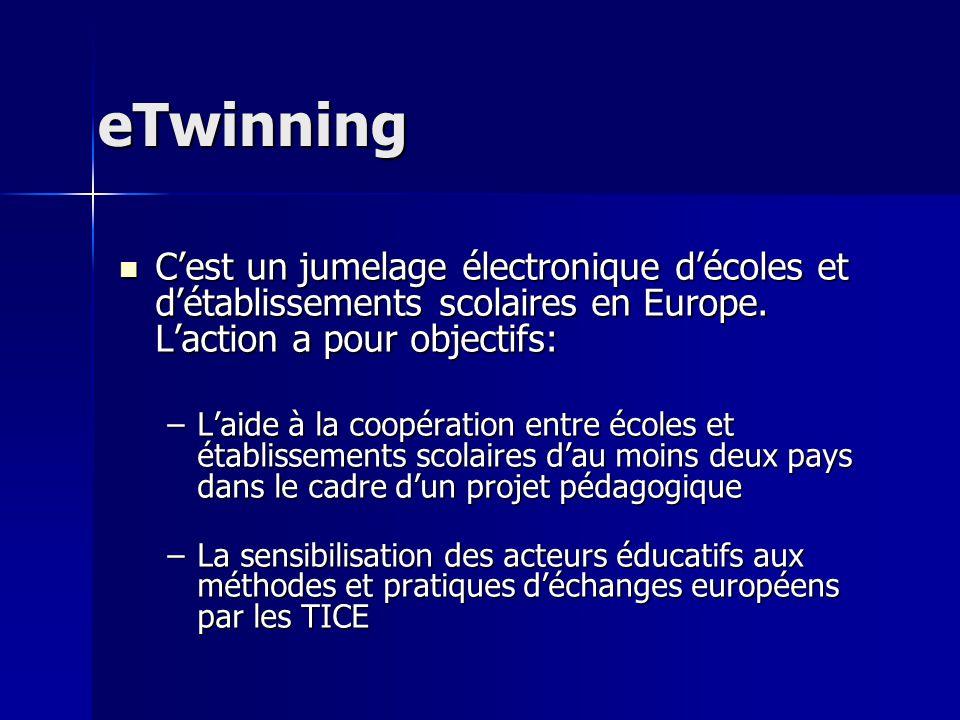 eTwinning Cest un jumelage électronique décoles et détablissements scolaires en Europe. Laction a pour objectifs: Cest un jumelage électronique décole