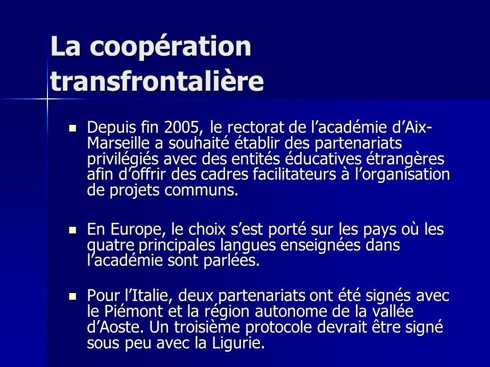 La coopération transfrontalière Depuis fin 2005, le rectorat de lacadémie dAix- Marseille a souhaité établir des partenariats privilégiés avec des entités éducatives étrangères afin doffrir des cadres facilitateurs à lorganisation de projets communs.