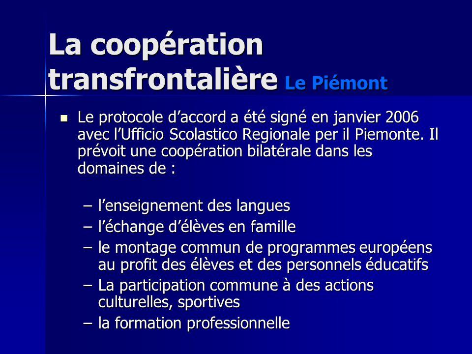 La coopération transfrontalière Le Piémont Le protocole daccord a été signé en janvier 2006 avec lUfficio Scolastico Regionale per il Piemonte. Il pré