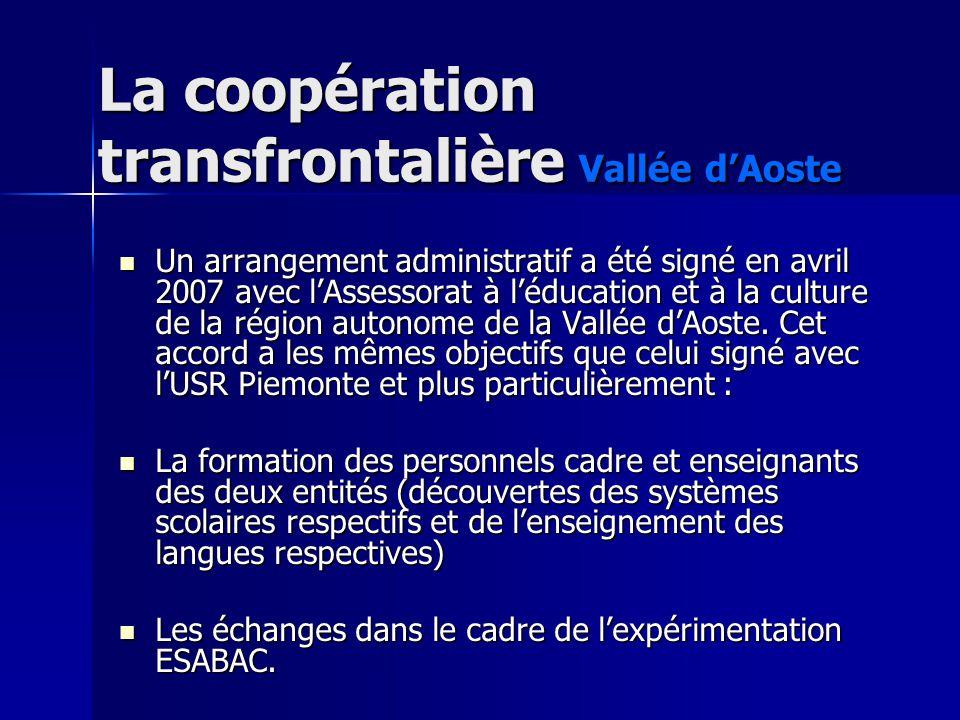 La coopération transfrontalière Vallée dAoste Un arrangement administratif a été signé en avril 2007 avec lAssessorat à léducation et à la culture de la région autonome de la Vallée dAoste.