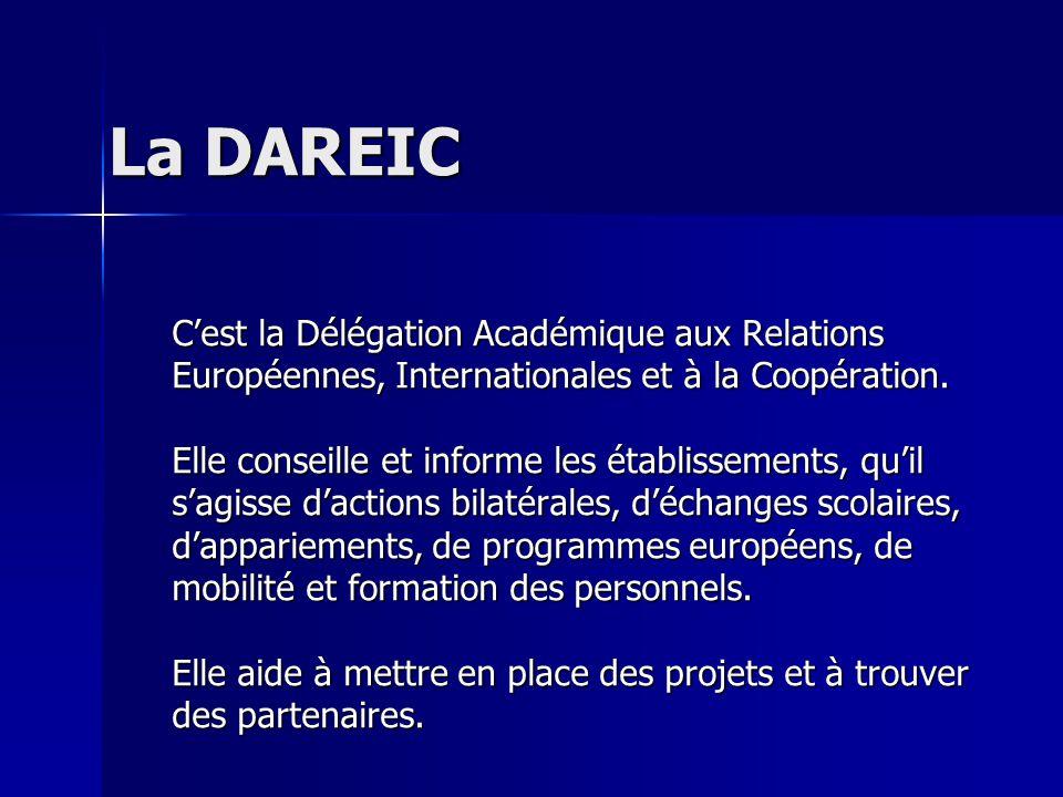 La DAREIC Cest la Délégation Académique aux Relations Européennes, Internationales et à la Coopération. Elle conseille et informe les établissements,