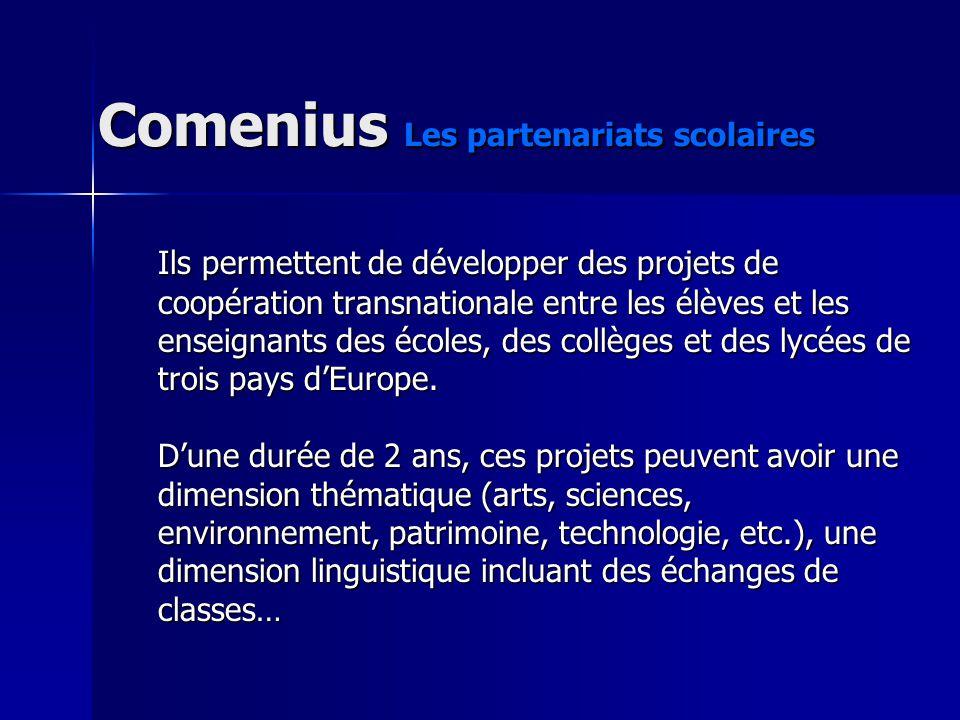 Comenius Les partenariats scolaires Ils permettent de développer des projets de coopération transnationale entre les élèves et les enseignants des écoles, des collèges et des lycées de trois pays dEurope.