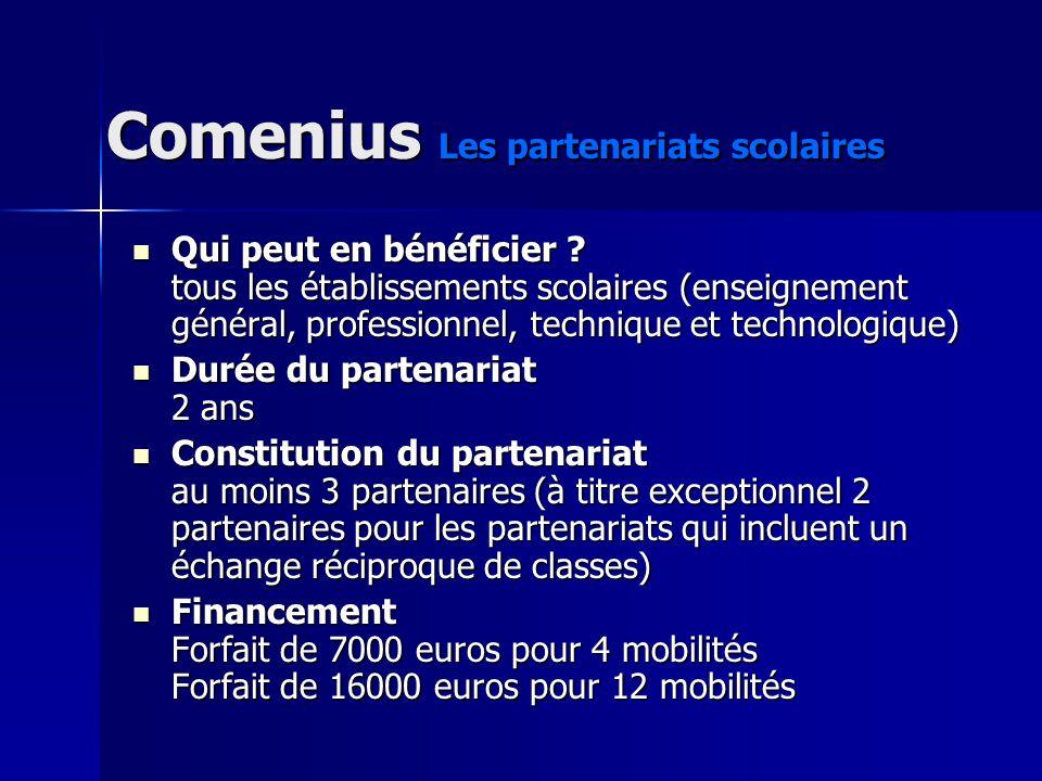 Comenius La mobilité individuelle Dune durée dune à six semaines, ces formations souhaitent diversifier et enrichir les compétences pédagogiques, au travers dune connaissance élargie de lenseignement scolaire en Europe.