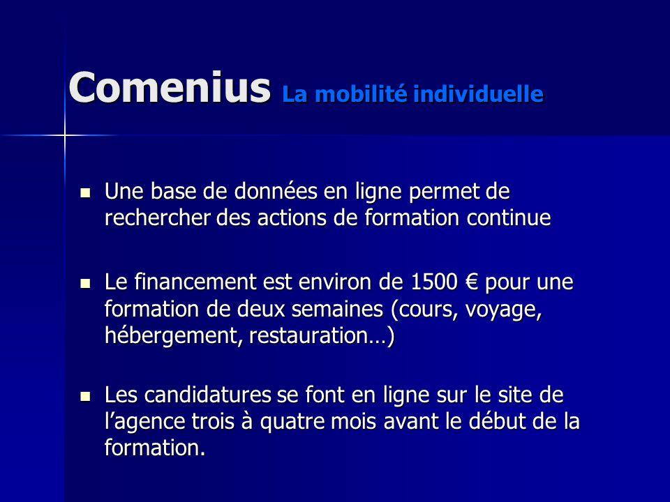 Comenius La mobilité individuelle Une base de données en ligne permet de rechercher des actions de formation continue Une base de données en ligne per