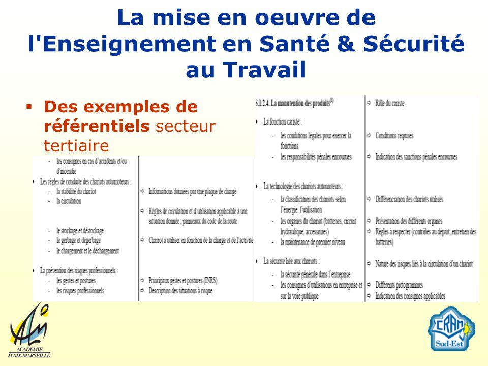 La mise en oeuvre de l'Enseignement en Santé & Sécurité au Travail Des exemples de référentiels secteur tertiaire